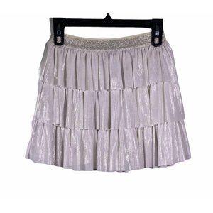 Cat&Jack Elastic Metallic Ivory Skirt L 10/12 Girl